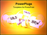 PowerPoint Template - Ideas for sale: one fresh and two sold. Bulb concept