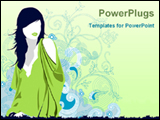 PowerPoint Template - fashion girl in green background