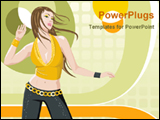 PowerPoint Template - dancing girl in abstract background