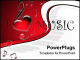 PowerPoint Template - White background with notes and text I Love Music