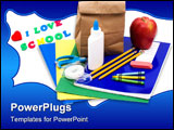 PowerPoint Template - A bunch of school supplies with paper bag lunch back to school