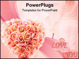 PowerPoint Template - pink artificial roses heart isolated on white