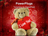 PowerPoint Template - Teddy bear and big red heart with text I Love You