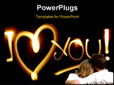 PowerPoint Template - I LOVE YOU phrase created by light over black background