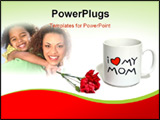 PowerPoint Template - mom mug with red carnation over white