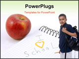 PowerPoint Template - I love school text and apple showing education concept