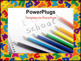 PowerPoint Template - back to school background with colorful pencils