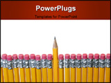PowerPoint Template - lose up shot of a sharp yellow pencil amongst other pencils with erasers on the end shot against a