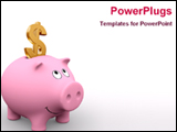 PowerPoint Template - american piggy bank and golden dollar symbol