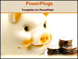 PowerPoint Template - american piggy bank and coins