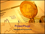 PowerPoint Template - financial report sheet and currency on a desk