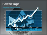 PowerPoint Template - d illustration of a rising data chart over top of a model of a simple house on a reflective backgro