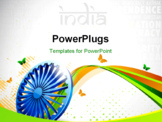 PowerPoint Template - Indian flag color creative wave background with 3D Asoka wheel and butterflies.