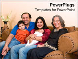 PowerPoint Template - Indian family sits together happily.