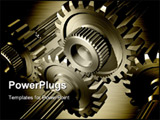 PowerPoint Template - Gears on steel background 3D rendered illustration