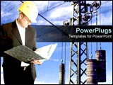 PowerPoint Template - Industry worker stands over electrical background