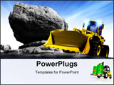 PowerPoint Template -  clean new powerful yellow earth mover construction truck posed against a rocky background and blue