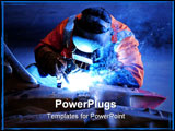 PowerPoint Template - industrial welding being carried out on a piece of mining equipment