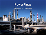 PowerPoint Template - Wide perspective view of a refinery plant.