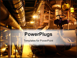 PowerPoint Template - Equipment cables and piping as found inside of a modern industrial power plant