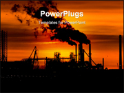 PowerPoint Template - Industry at sunrise with dramatic colors in the sky