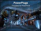 PowerPoint Template - Pipes tubes machinery and steam turbine at a power plant