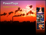 PowerPoint Template - Exhaust smoke / Air pollution / Sunrise / Silhouette / Color Toned