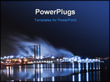 PowerPoint Template - A large industry by the water and lights