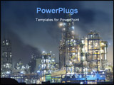 PowerPoint Template - Oil refinery surrounded with steaming fumes in the night