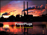 PowerPoint Template - landscape photo of factory with smoke stacks