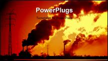 PowerPoint Template - Power plant with smoke