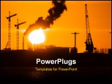 PowerPoint Template - Industry silhouettes pollution and big yellow sun