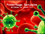 PowerPoint Template - Graphically designed blood cells and green infection blobs.