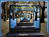 PowerPoint Template - Laptop in perspective mixing aged park and snow park