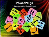 PowerPoint Template - nformation overload or guidance confusion concept - different arrows on colorful sticky noted poste