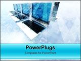 PowerPoint Template - A 3d render of hi-tech laptops array
