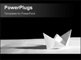 PowerPoint Template - wtite paper yacht with shaodow on black background