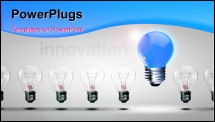 PowerPoint Template - Row of light bulbs with one different from the others