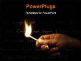 PowerPoint Template - and holding a blazing match lighting the words inspire, create, idea, explore, lead, spark - repres