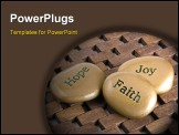 PowerPoint Template - Gold inspiration stones. Etched with the words Hope Faith and Joy