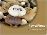 PowerPoint Template - Pile of stones carved with inspirational words.