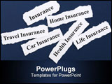 PowerPoint Template - Headline of Insurance Policy Life; Health car travel home for background