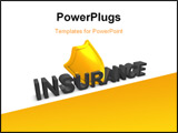 PowerPoint Template - 4d image Shield insurance protection over white background