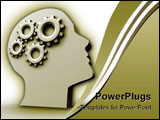 PowerPoint Template - Human head profile with gears - 3d render