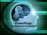 PowerPoint Template - A human shaped head with gears clicking.
