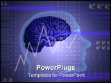 PowerPoint Template - a head shape, a brain and a chart on an abstract background