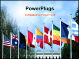 PowerPoint Template - flags from many different nations fly side by side