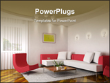 PowerPoint Template - 3d rendering of the modern sitting room