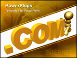 PowerPoint Template - Gold icon browsing the world wide web online