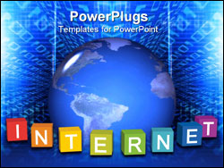 PowerPoint Template - Internet concept: color cubes with a word Internet and the globe